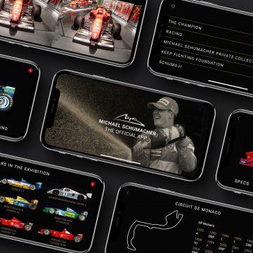 Michael Schumacher App, verschiedene Handybildschirme zu sehen