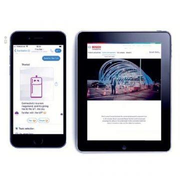 Ansicht der Bosch Website auf dem iPad