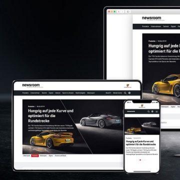 Porsche Newsroom auf verschiedenen Endgeräten