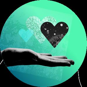 Herzen schweben über geöffneter Hand