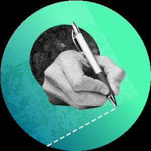 Hand zeichnet gestrichelte Linie mit Kugelschreiber