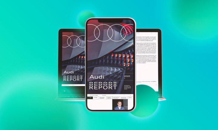 Audi Nachhaltigkeitsbericht auf verschiedenen digitalen Geräten