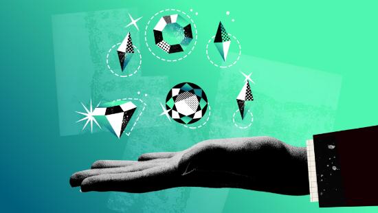 Hand mit Diamanten